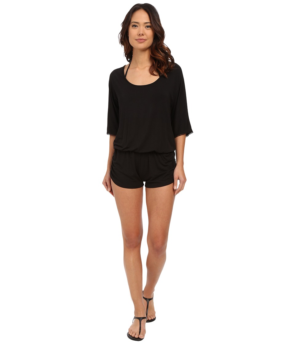 L*Space - Siren Romper Cover-Up (Black) Women's Jumpsuit & Rompers One Piece
