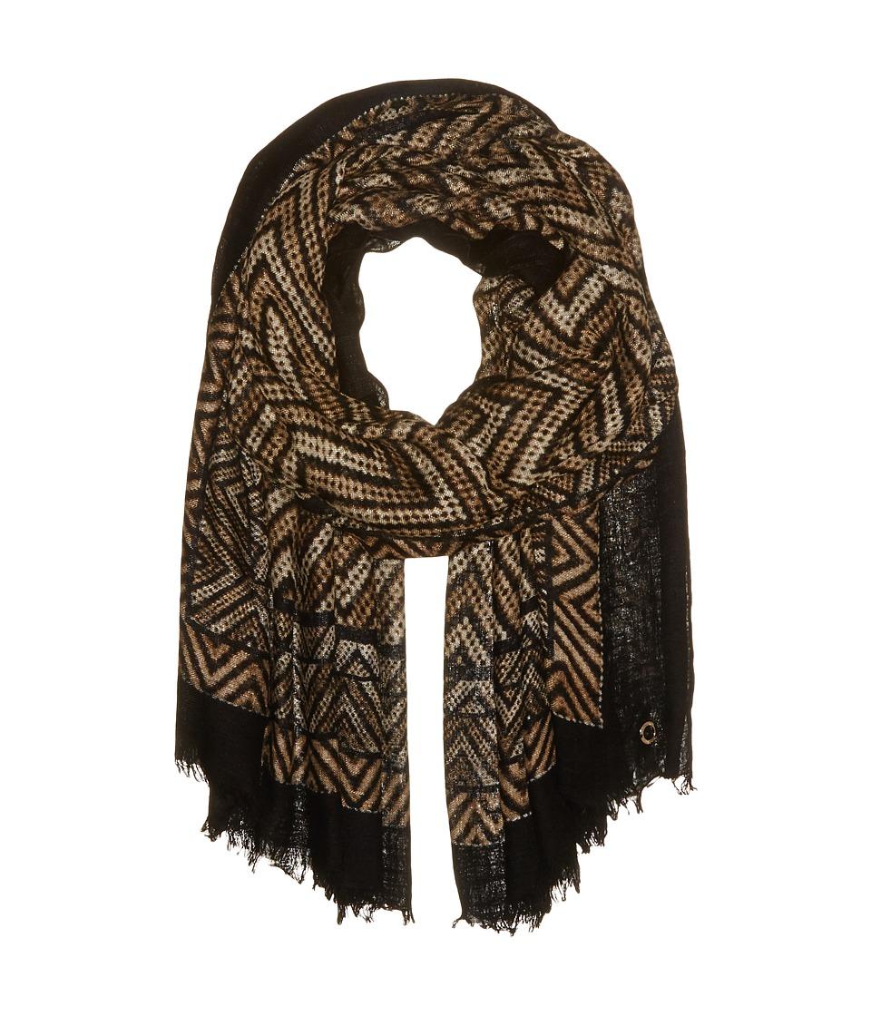 Calvin Klein - Tribal Chevron Border Wrap (Latte) Scarves