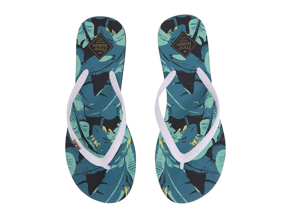 Freewaters - Jess Print (White/Green Leaves) Women's Shoes