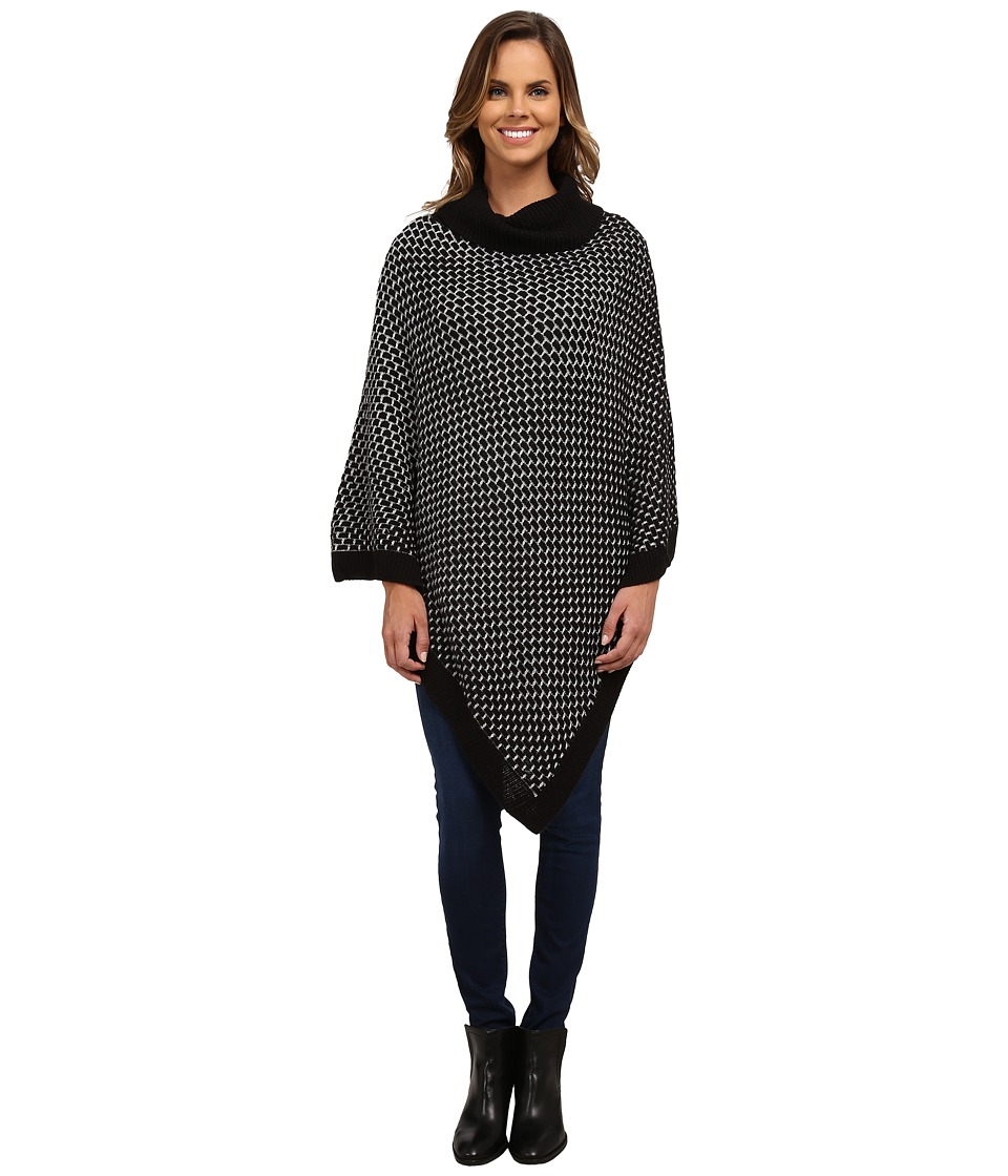 Calvin Klein - Brick Stitch Poncho (Black) Women's Sweater