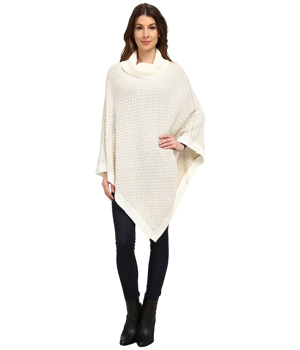 Calvin Klein - Brick Stitch Poncho (Cr me) Women's Sweater