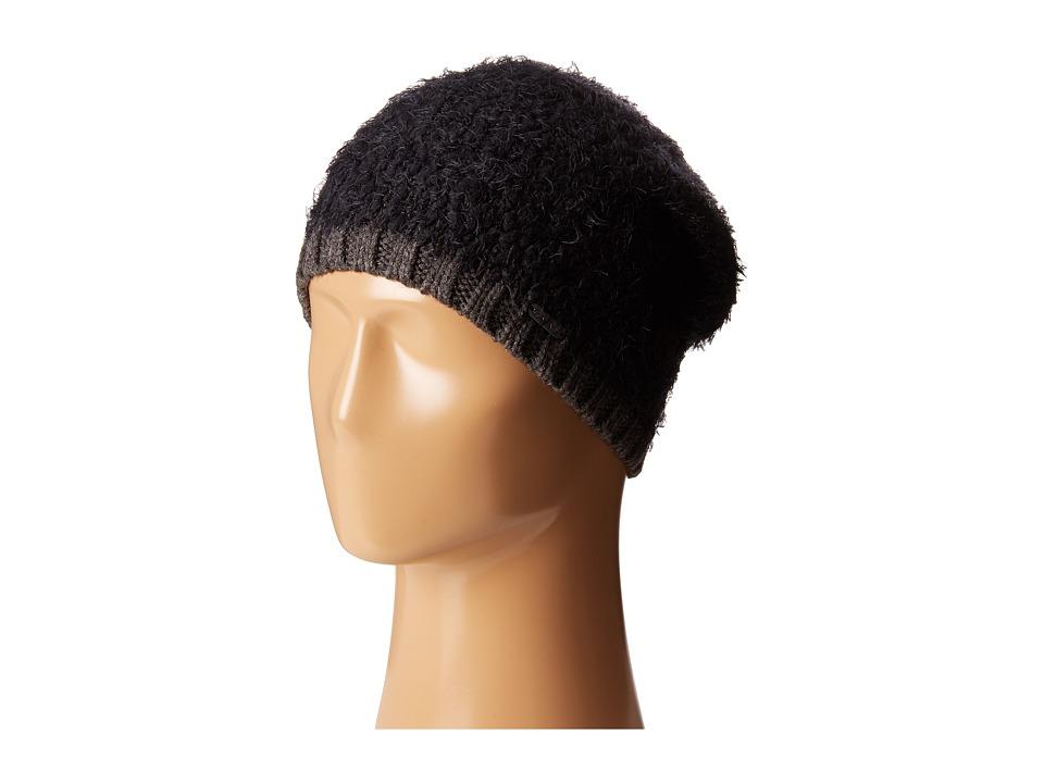 Calvin Klein - Boucle Knit Slouchy Beanie w/ Contrast Rib Cuff (Black) Beanies