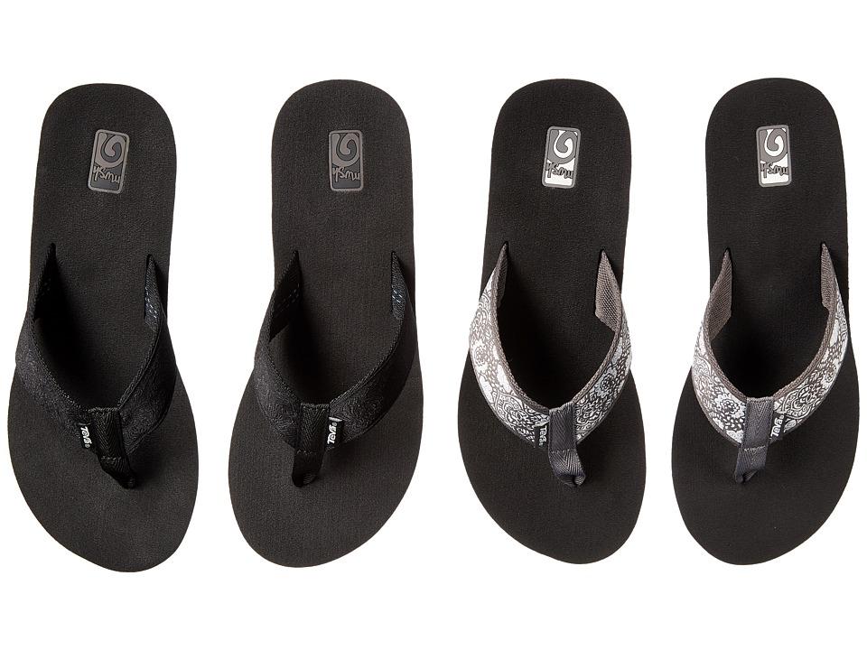 Teva - Mush Mandalyn Wedge Two Pair Pack (Motif Black/Harmony Silver) Women's Sandals