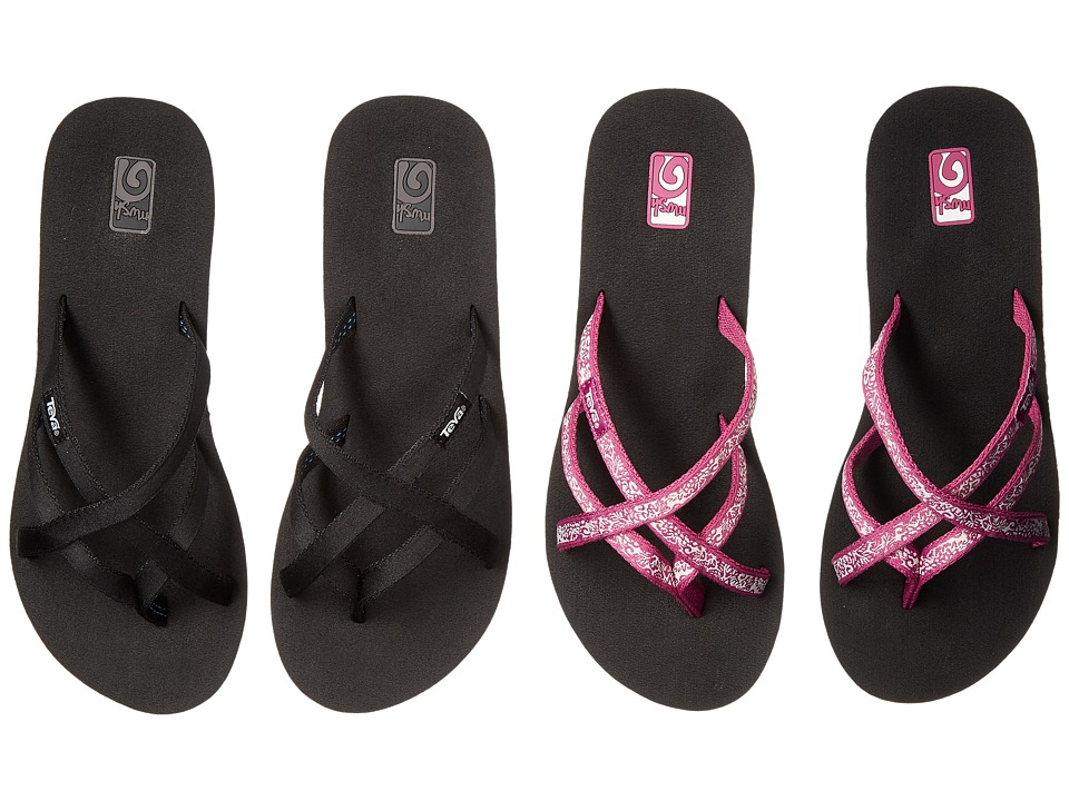 Teva Mandalyn Wedge Ola 2-Pack (Black/Fleur Magenta) Women