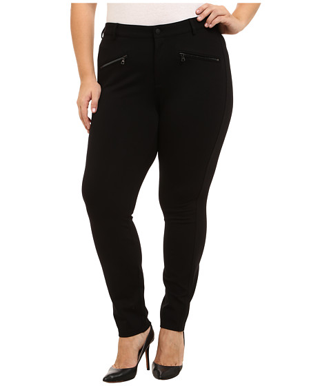 NYDJ Plus Size - Plus Size Zip Ponte Leggings (Black) Women's Casual Pants