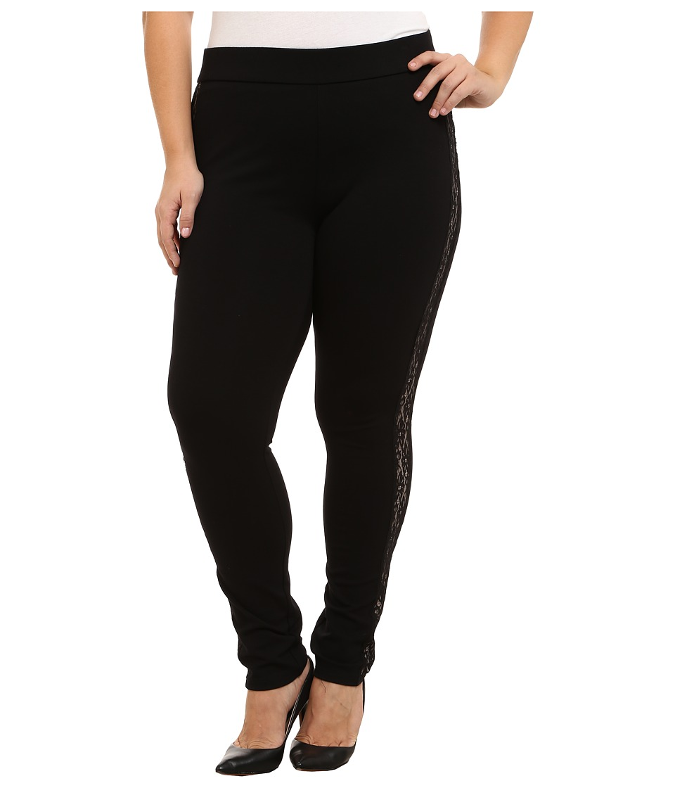 NYDJ Plus Size - Plus Size Poppy Leggings with Lace Tuxedo (Black) Women's Casual Pants