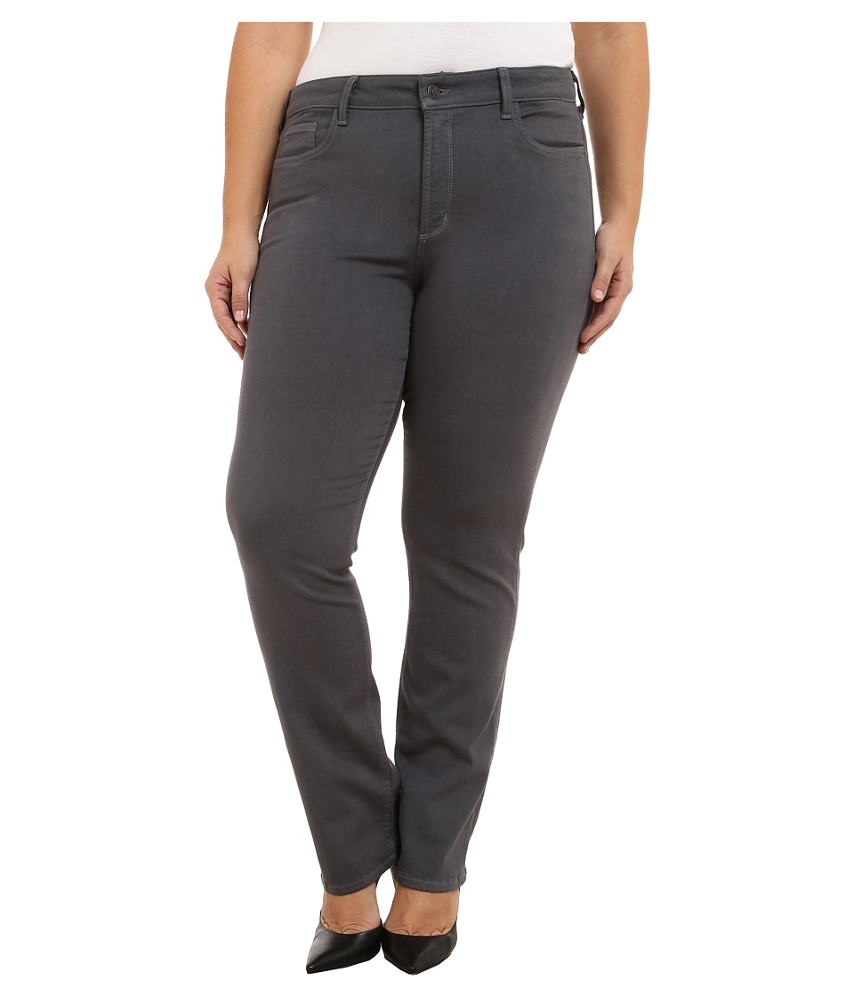 NYDJ Plus Size - Plus Size Marilyn Straight (Dark Graphite) Women's Casual Pants