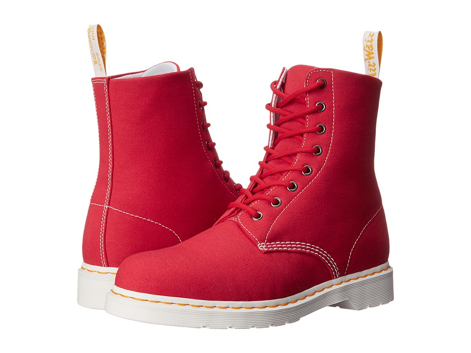 Dr. Martens Page 8-Eye Boot (True Red Canvas) Lace-up Boots