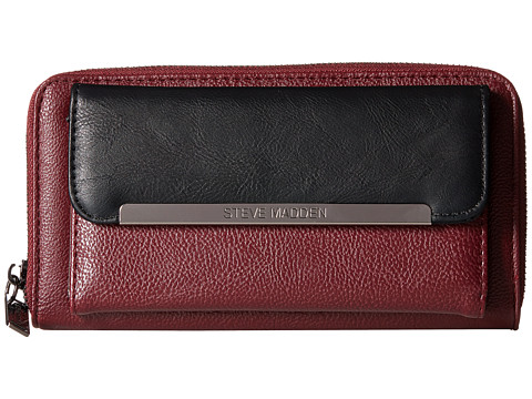 Steve Madden - Front Pocket Zip Around (Black/Wine) Wallet Handbags