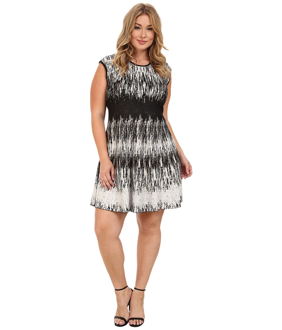 NIC+ZOE - Plus Size Falling Lines Twirl Dress (Multi 1) Women's Dress