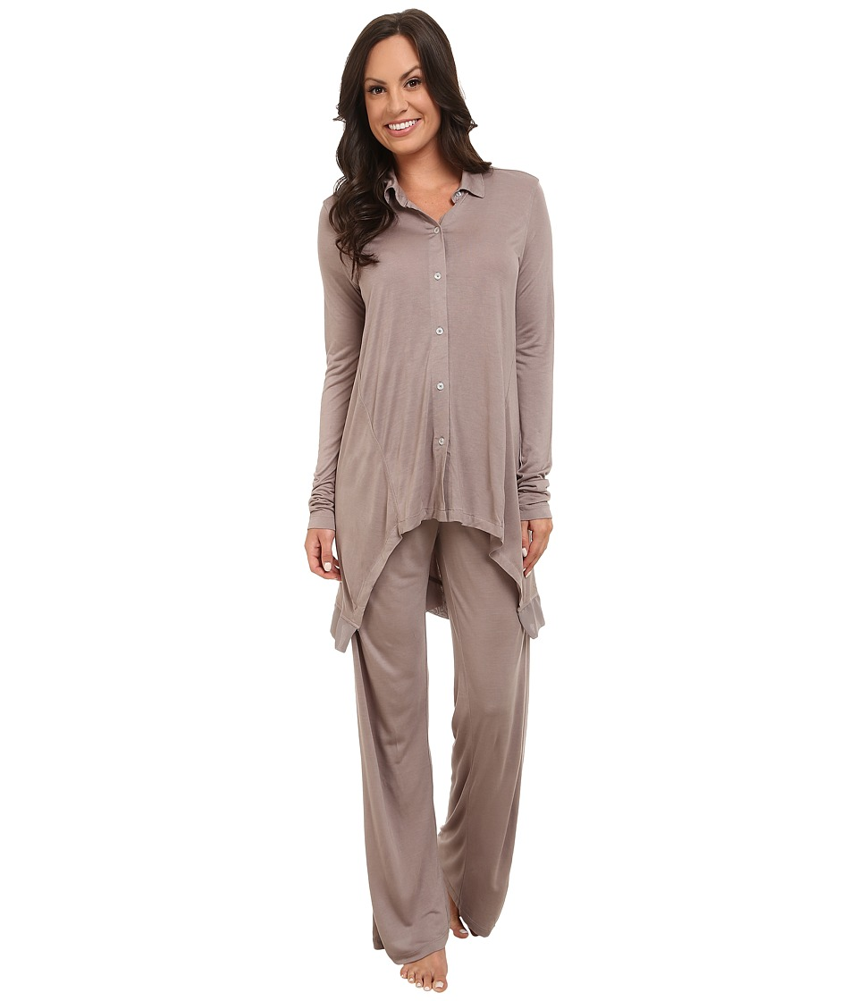 DKNY - Group Long Sleeve Top and Pants Set (Softmink) Women