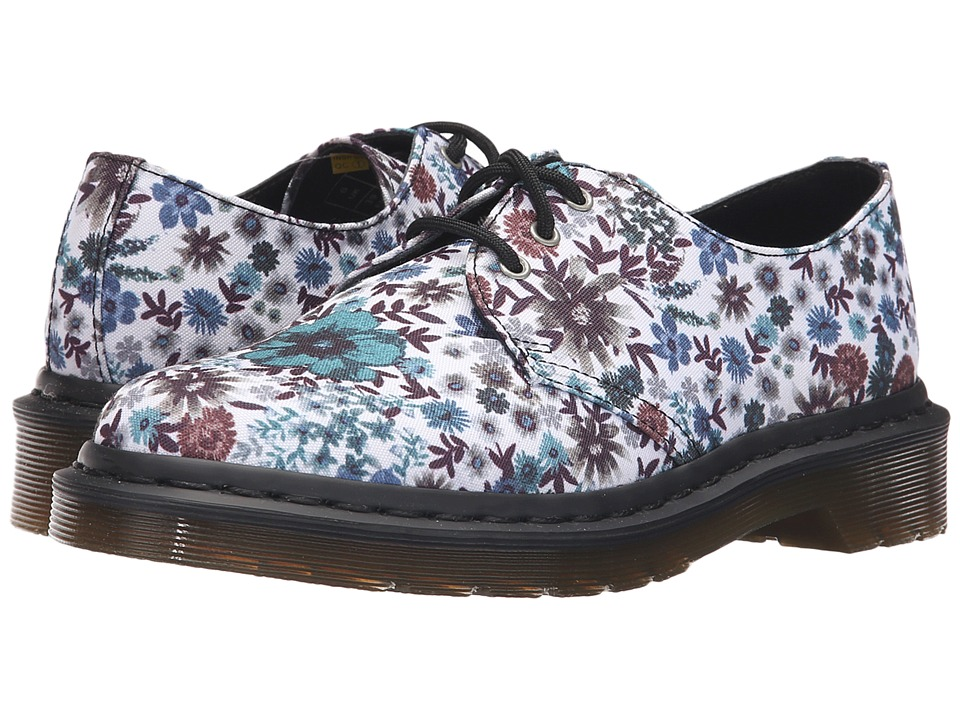 Dr. Martens - Lester 3-Eye Shoe (Off-White Wanderlust T Canvas) Women's Lace up casual Shoes