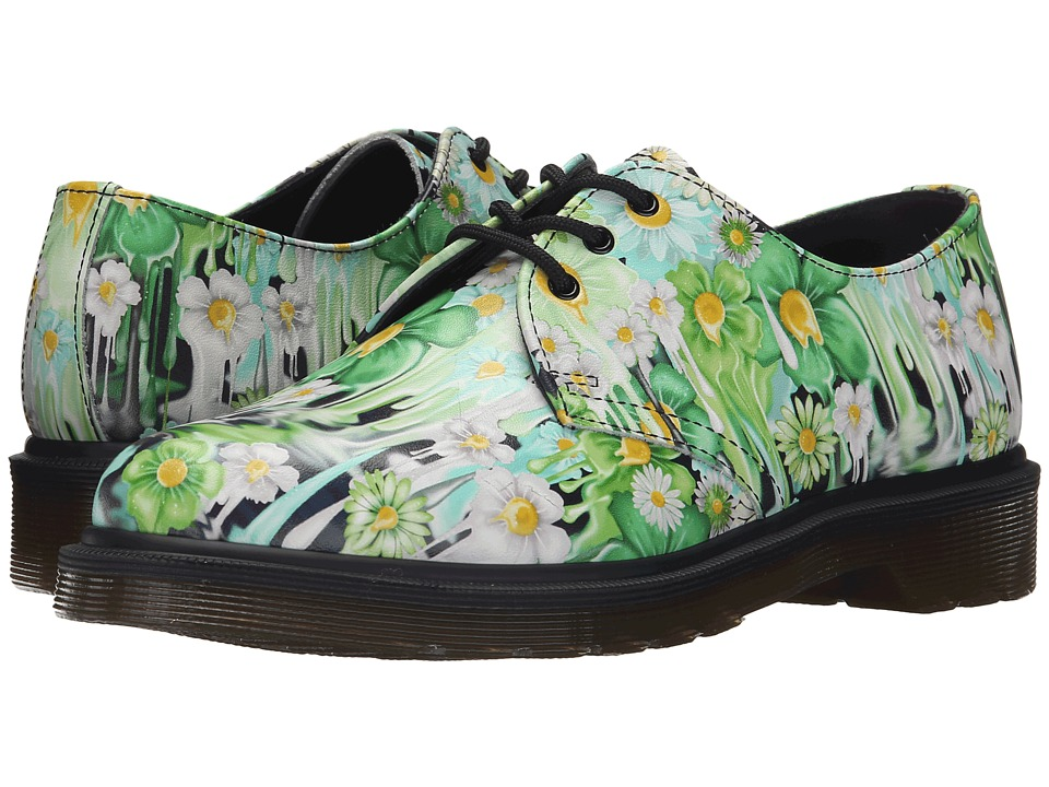 Dr. Martens - 1461 3-Eye Shoe (Green Paint Slick Backhand) Women's Lace up casual Shoes