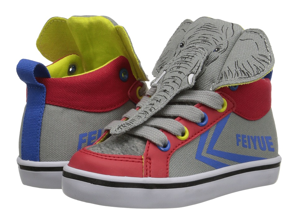 Feiyue Kids - Delta Mid Animal (Toddler) (Grey/Blue/Red) Kid's Shoes