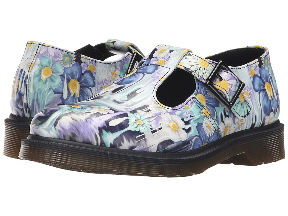 Dr. Martens - Polley T-Bar Mary Jane (Purple Paint Slick Backhand) Women's Maryjane Shoes