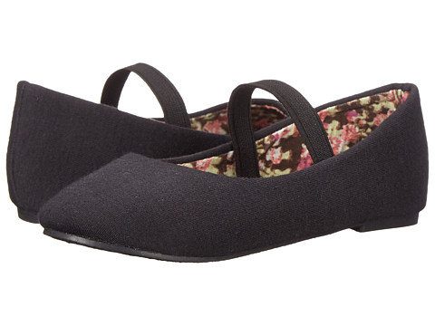 Simply Petals - Jersey-TG (Toddler) (Black) Girl's Shoes