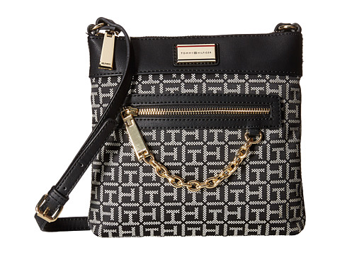 Tommy Hilfiger - Carrie - Monogram Jacquard North South Crossbody (Black/White) Cross Body Handbags