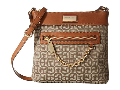 Tommy Hilfiger - Carrie - Monogram Jacquard North South Crossbody (Tan/Chocolate) Cross Body Handbags