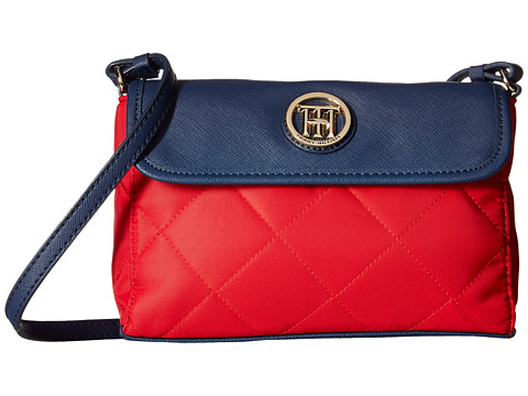 Tommy Hilfiger - Hayden - Quilted Nylon East West Crossbody (Red/Navy) Cross Body Handbags