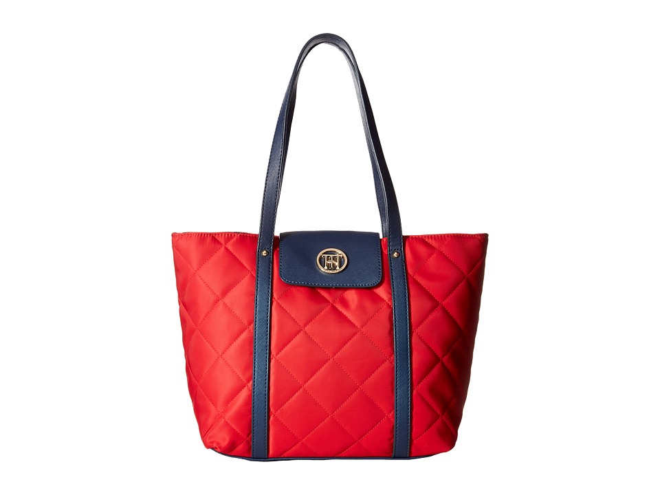 Tommy Hilfiger - Hayden - Quilted Nylon Tote (Red/Navy) Tote Handbags