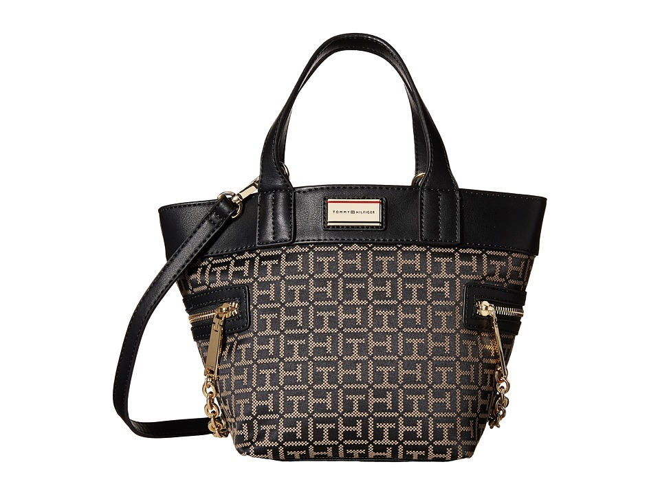 Tommy Hilfiger - Carrie - Monogram Jacquard Convertible Shopper (Black/Pepper) Satchel Handbags