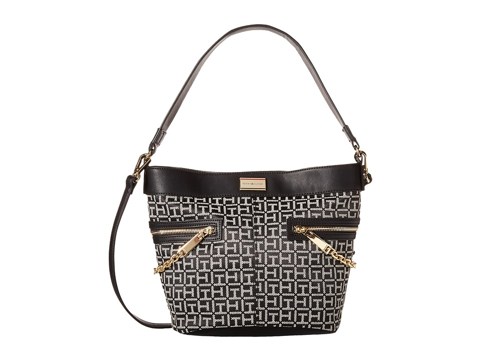 Tommy Hilfiger - Carrie - Monogram Jacquard Convertible Bucket (Black/White) Satchel Handbags