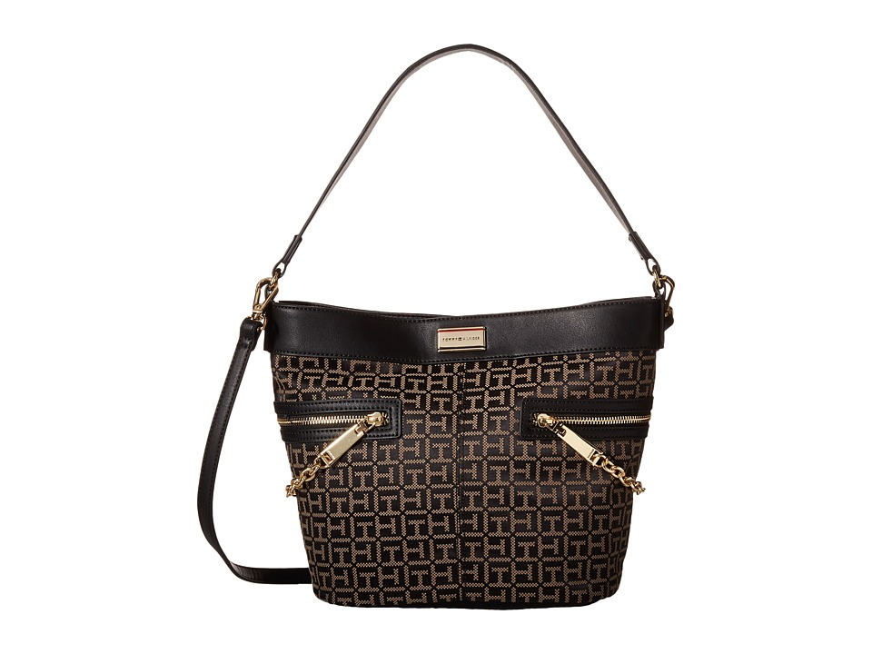 Tommy Hilfiger - Carrie - Monogram Jacquard Convertible Bucket (Black/Pepper) Satchel Handbags