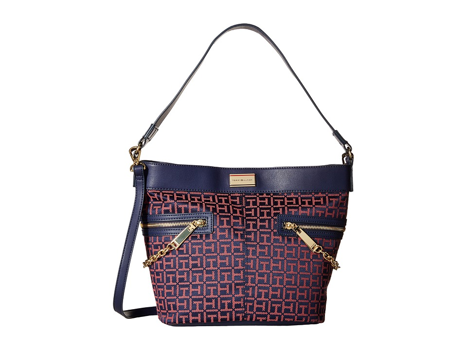 Tommy Hilfiger - Carrie - Monogram Jacquard Convertible Bucket (Navy/Calypso Coral) Satchel Handbags