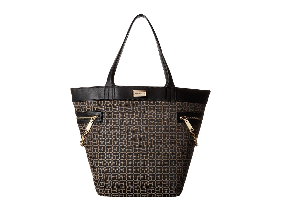 Tommy Hilfiger - Carrie - Monogram Jacquard Tote (Black/Pepper) Tote Handbags