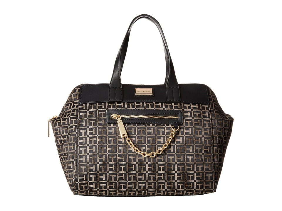 Tommy Hilfiger - Carrie - Monogram Jacquard Satchel (Black/Pepper) Satchel Handbags