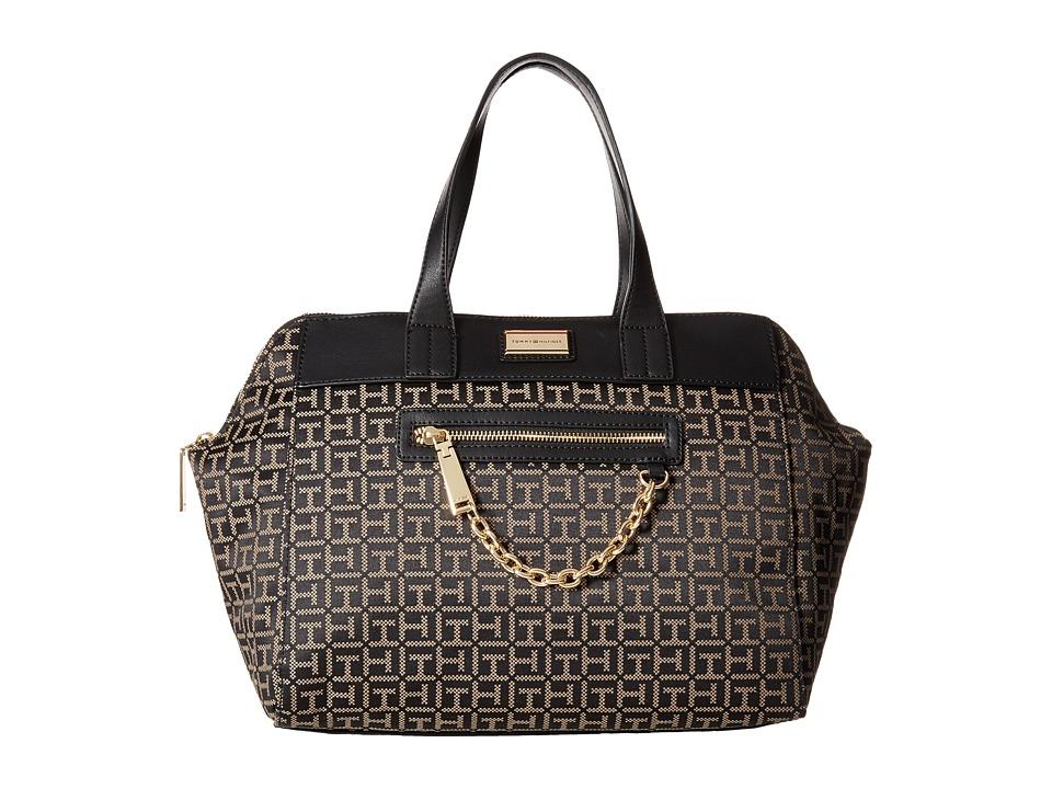Tommy Hilfiger - Carrie - Monogram Jacquard Satchel (Black/Pepper) Satchel Handbags