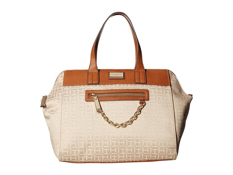 Tommy Hilfiger - Carrie - Monogram Jacquard Satchel (Khaki Tonal) Satchel Handbags