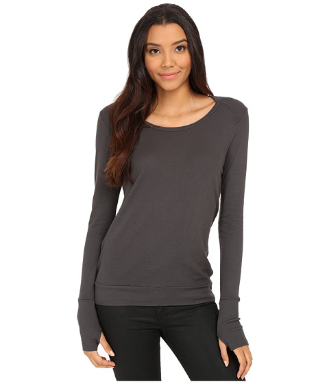 LAmade - Thermal Top With Thumbholes (Raven) Women's Sweater