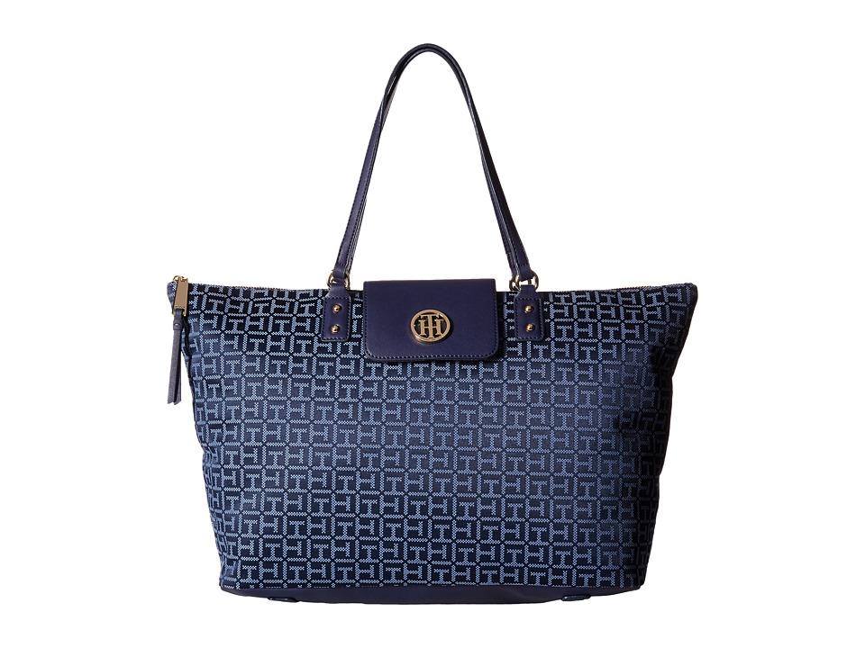 Tommy Hilfiger - Veronica - Monogram Jacquard Tote (Navy/Lapis) Tote Handbags