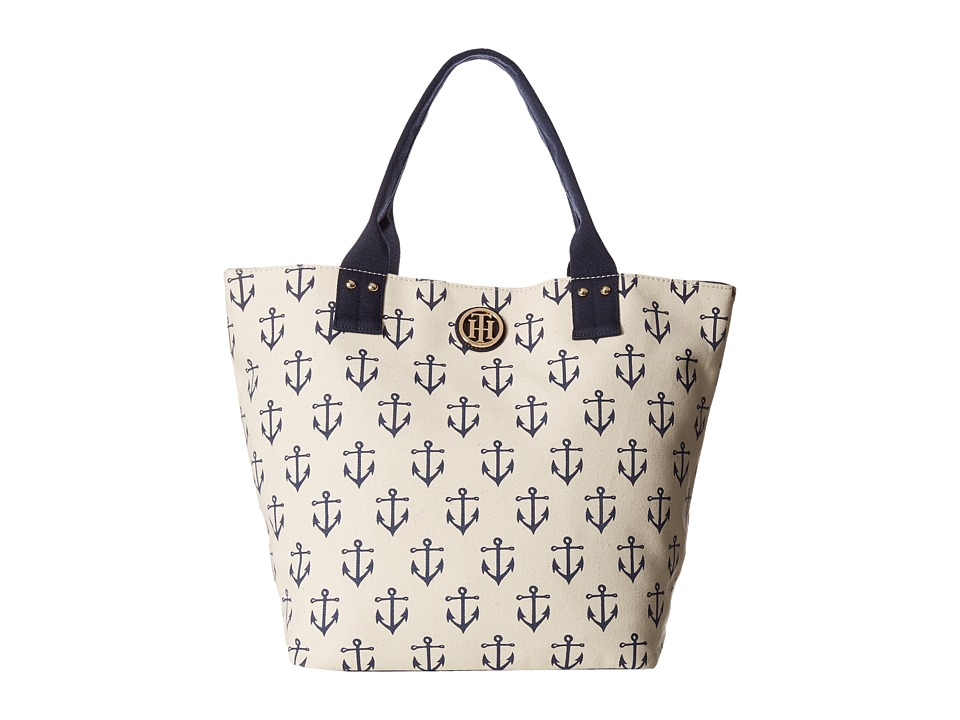 Tommy Hilfiger - Ali - Printed Canvas Shopper (Natural/Navy) Tote Handbags