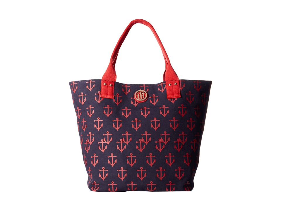 Tommy Hilfiger - Ali - Printed Canvas Shopper (Navy/Red) Tote Handbags
