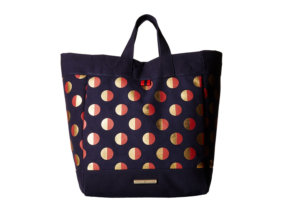 Tommy Hilfiger - Jean - Metallic Dot Canvas Tote (Navy / Red) Tote Handbags