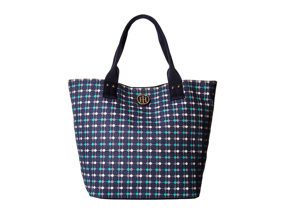 Tommy Hilfiger - Ali - Printed Canvas Shopper (Navy/Green) Tote Handbags
