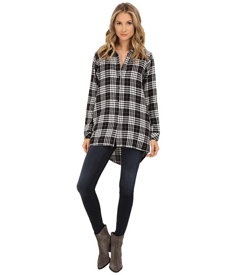 UNIONBAY - Tahoe Plaid Flannel Krissy Hood Shirt Jacket (White) Women's Long Sleeve Button Up