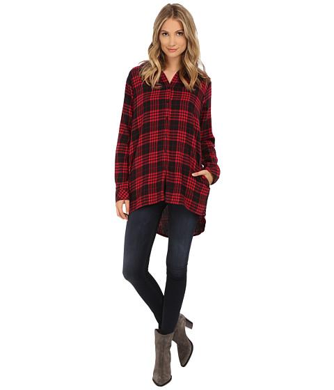 UNIONBAY - Tahoe Plaid Flannel Krissy Hood Shirt Jacket (Ruby Red) Women
