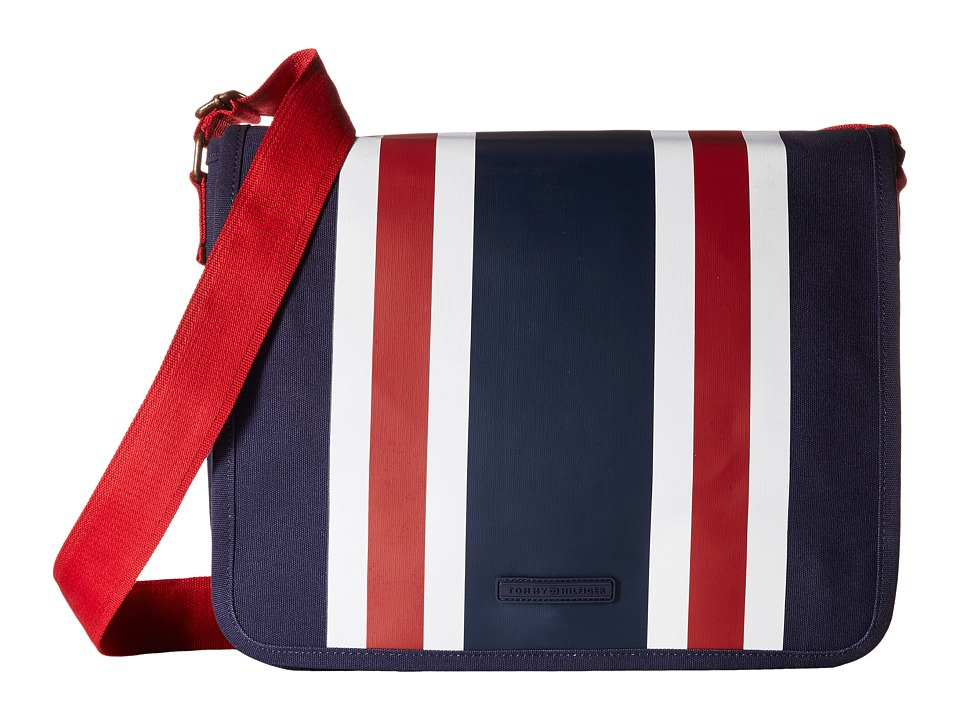 Tommy Hilfiger - TH Stripes - Painted Canvas Messenger (Navy/White/Red) Messenger Bags