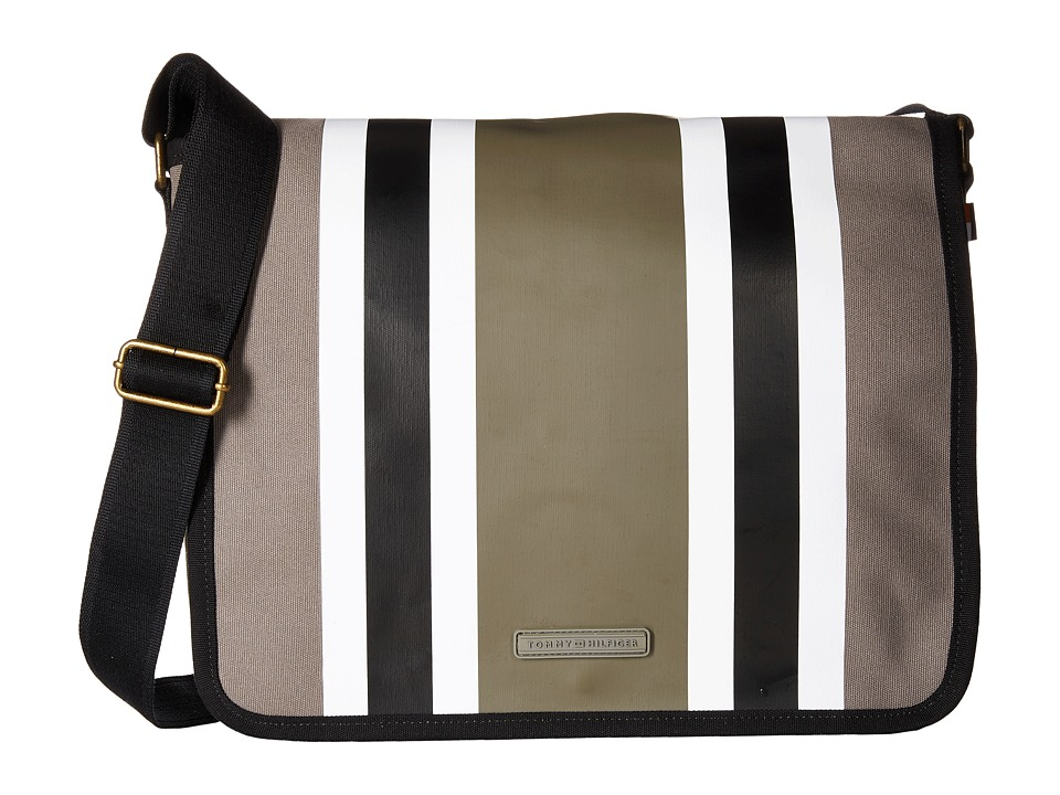 Tommy Hilfiger - TH Stripes - Painted Canvas Messenger (Pepper/Black) Messenger Bags