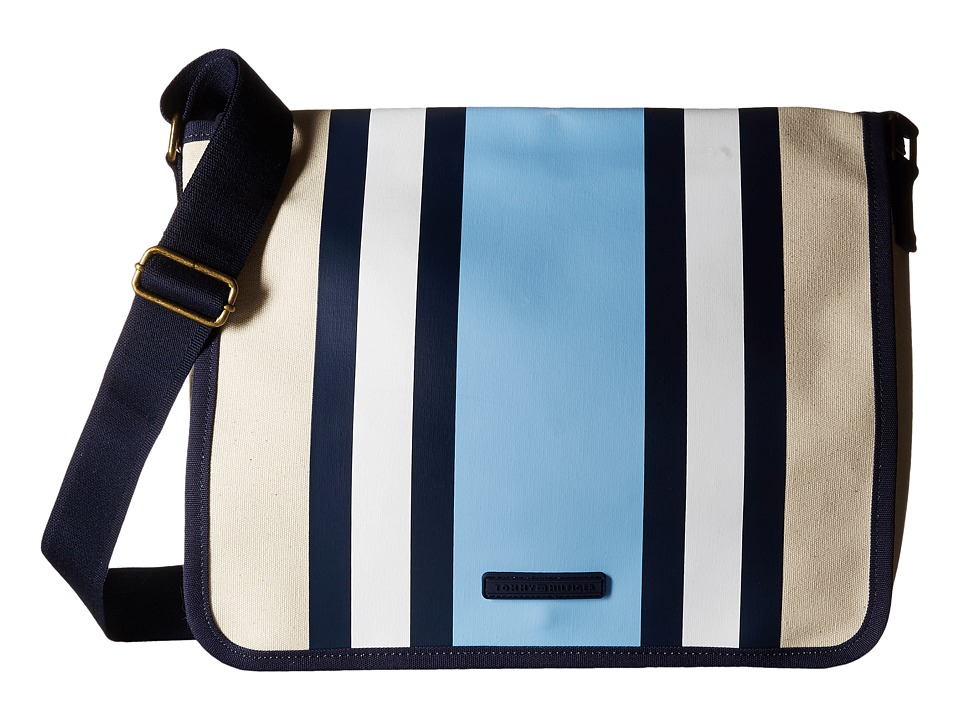 Tommy Hilfiger - TH Stripes - Painted Canvas Messenger (Natural/Blue) Messenger Bags
