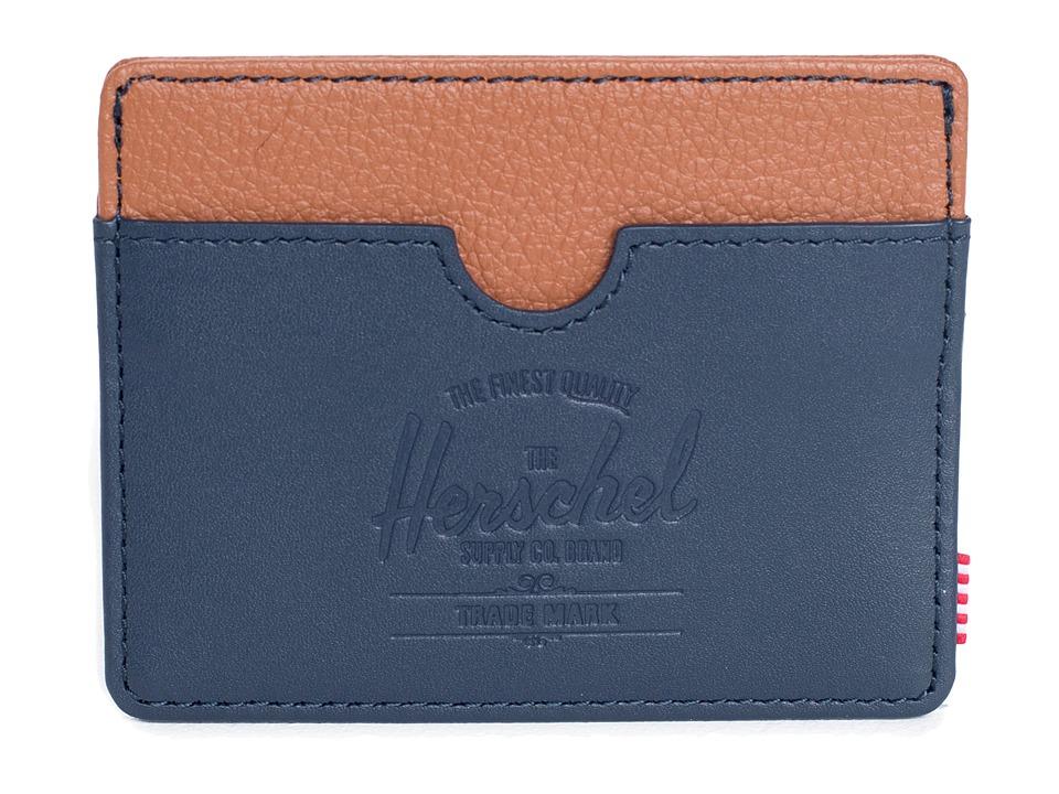 Herschel Supply Co. - Charlie Leather (Navy Smooth/Tan Pebble) Wallet Handbags