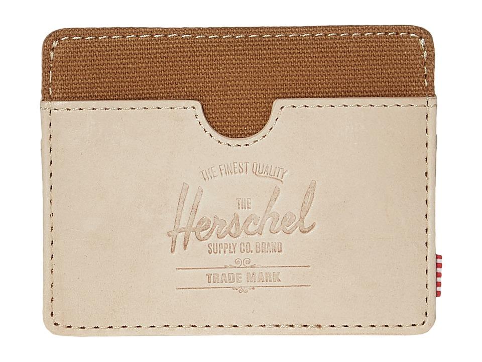 Herschel Supply Co. - Charlie Leather (Natural Leather/Caramel) Wallet Handbags