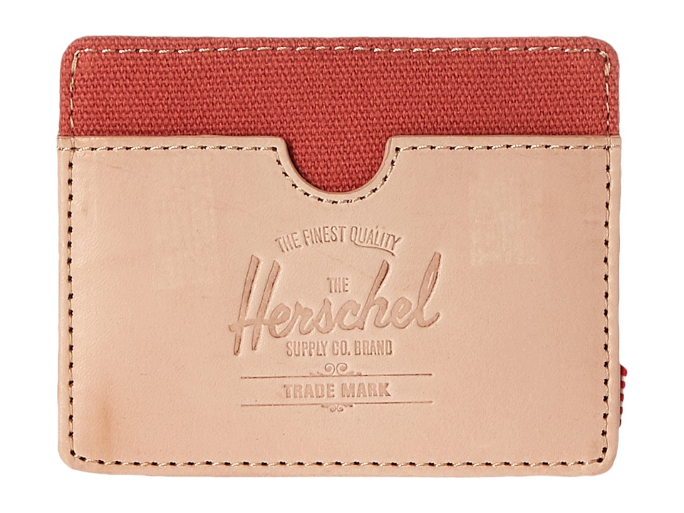 Herschel Supply Co. - Charlie Leather (Natural Leather/Flamingo) Wallet Handbags