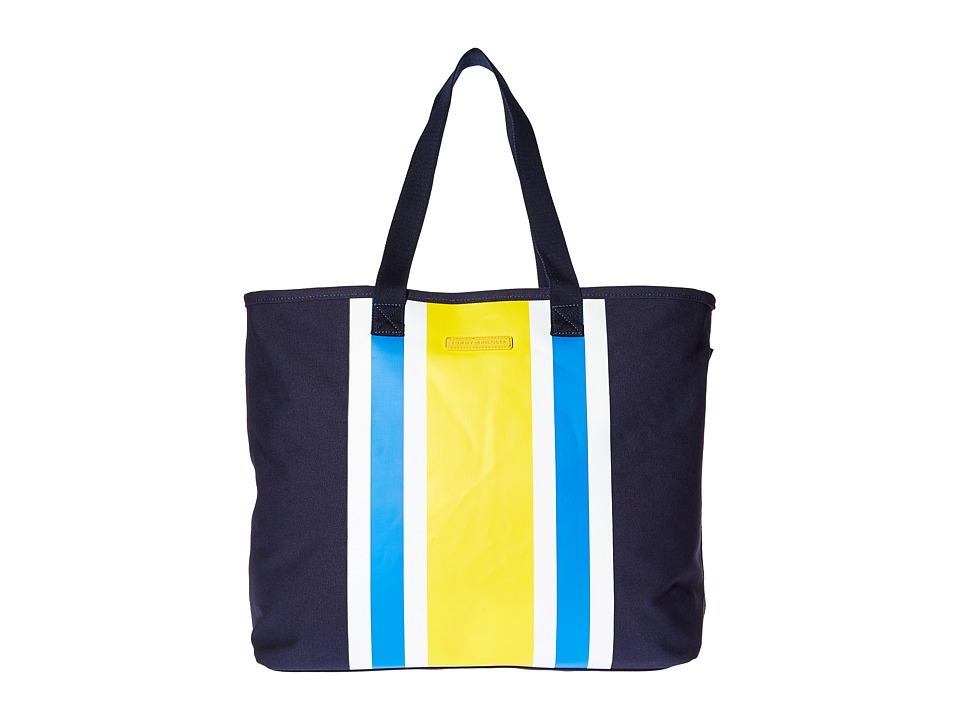 Tommy Hilfiger - Stripes Tote Canvas (Navy/Yellow) Tote Handbags