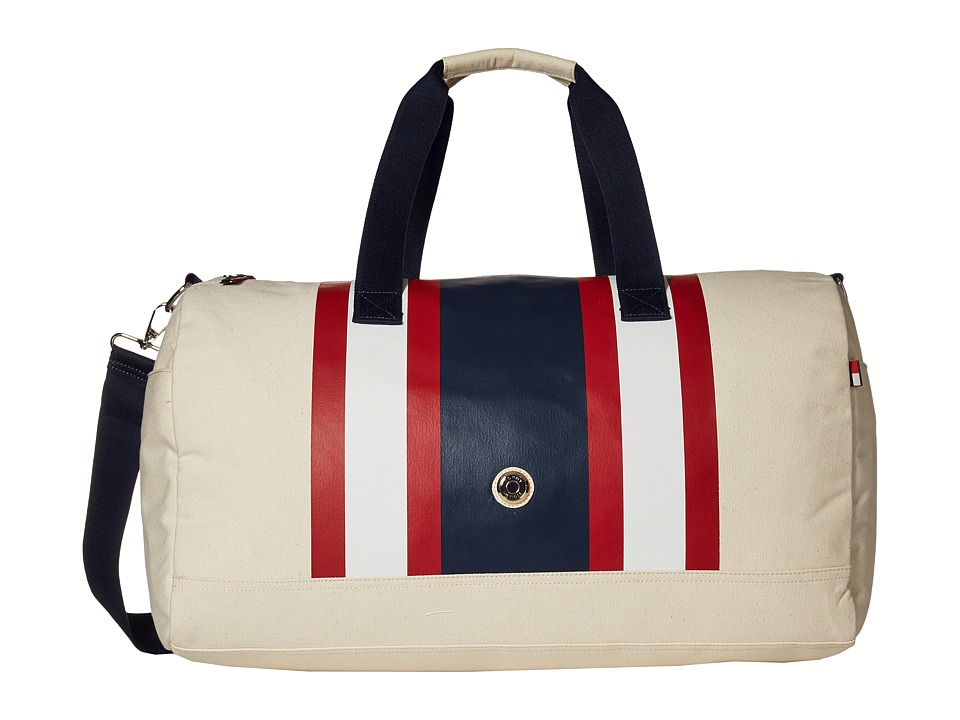 Tommy Hilfiger - TH Stripes - Painted Canvas Large Duffel (Natural/Navy/Red) Duffel Bags