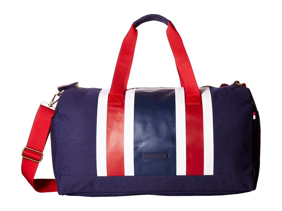 Tommy Hilfiger - TH Stripes - Painted Canvas Large Duffel (Navy/White/Red) Duffel Bags