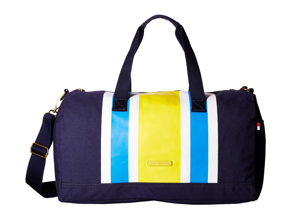 Tommy Hilfiger - TH Stripes - Painted Canvas Large Duffel (Navy/Yellow) Duffel Bags